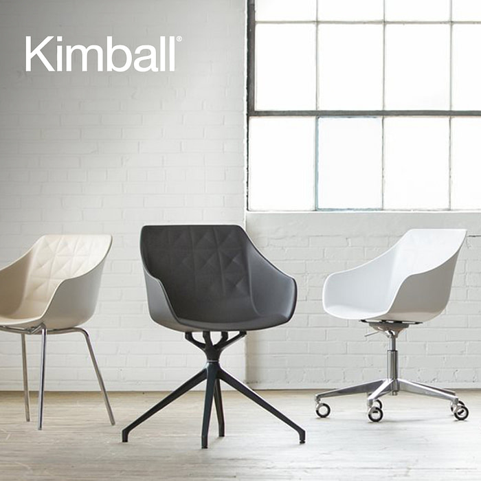 Kimball International Case Study feature photograph featuring 5 uniquely configured neutral-colored chairs arranged side-by-side in a clean well lit room.