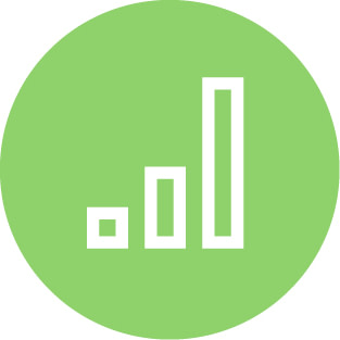 Green circle icon featuring a 3-line bar-graph growing exponentially from left to right