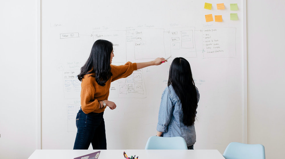 Two women collaborating around a white board covered in notes, diagrams, and sticky notes.