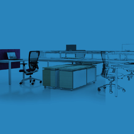 Blue colorized photograph of an office space of desks and chairs. 1/3 of the photo is a sketch, 1/3 a computer-generated rendering, and the final 1/3 a staged studio photograph