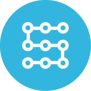 Blue circle icon featuring 9 rings arranged in a 3x3 grid and daisy-chained to form a snake-like shape