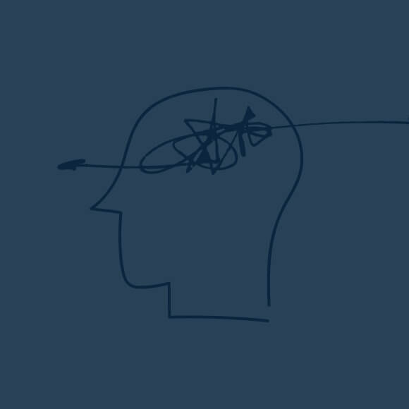 Graphic of navy blue squiggle brain