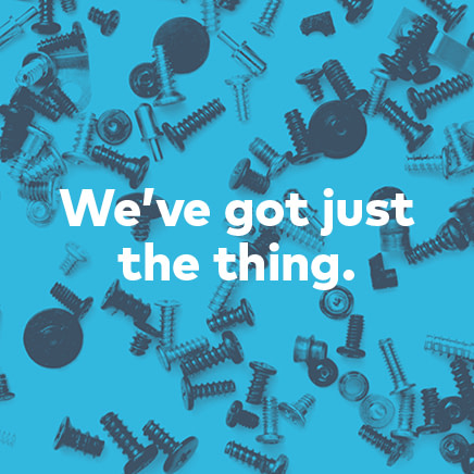 """Article photograph featuring screws, nuts and bolts, in blue, and reads """"We've got just the thing."""""""