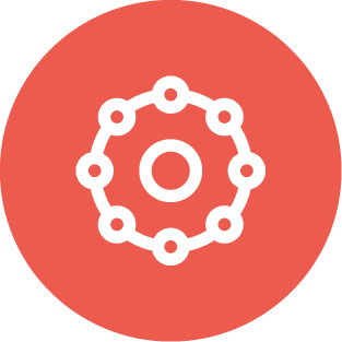 Red circle icon featuring a ring within a ring of connected rings