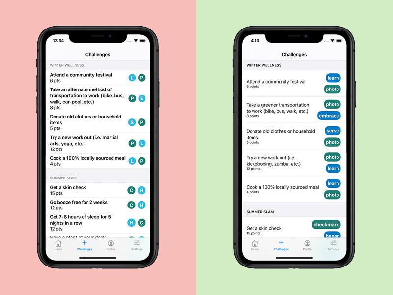 Mobile app accessibility example: less accessible vs more accessible lists