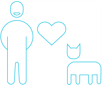 An illustration of a person and cat. There is a heart between them symbolizing their love for each other.