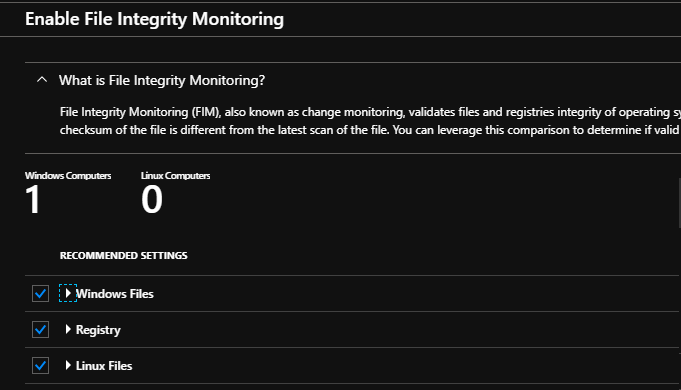 Enable File Integrity Monitoring