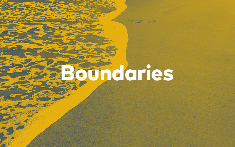 "Feature image of a wave creeping up on a shoreline with the word ""Boundaries"" overlaid"