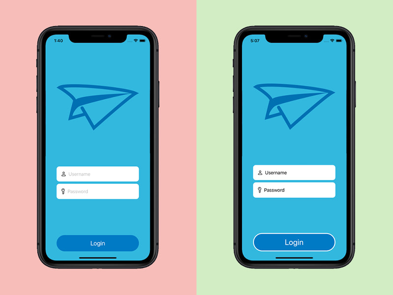 Mobile app accessibility example: less accessible vs. more accessible fields